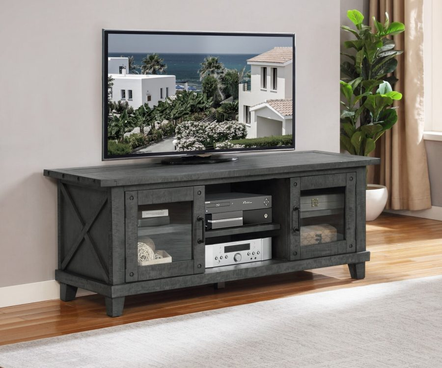 |TV Stand with Drawers in a grey Wood Finish|