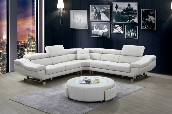  3 PC Leath-aire sectional with coffee table with two drawers and three colors to Choose: orange