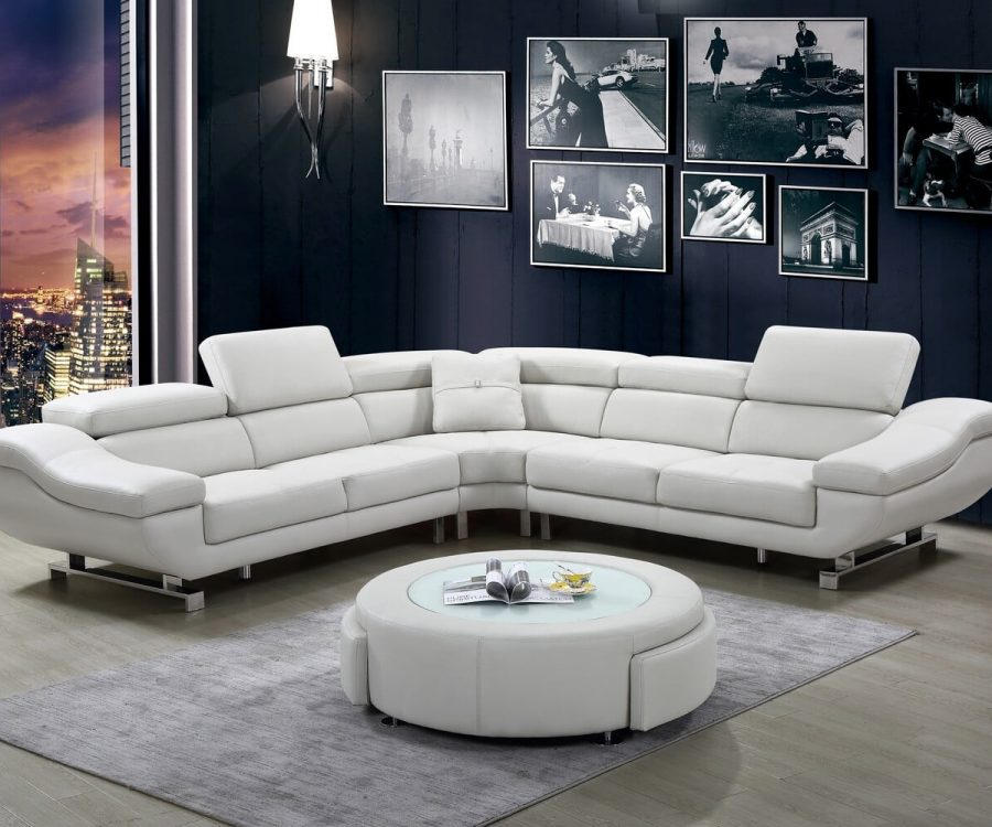 |3 PC Leath-aire sectional with coffee table with two drawers and three colors to Choose: orange