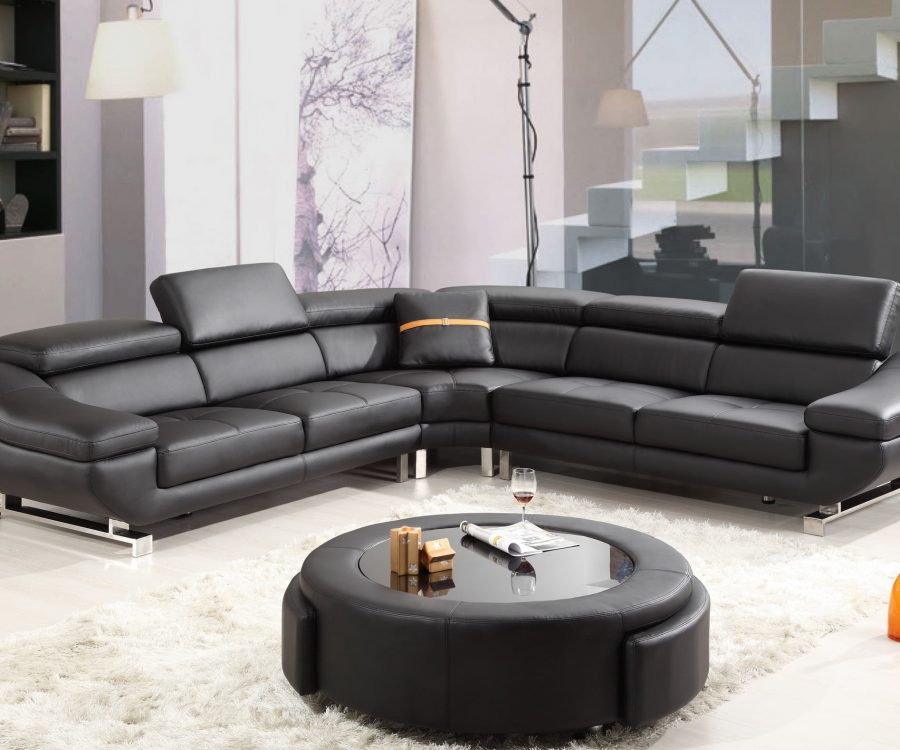 |3 PC bonded leather sectional with coffee table with two drawers and three colors to Choose: orange