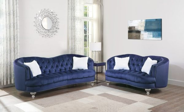 |2PC Upholstered Living room set: Camelback style sofa and loveseat