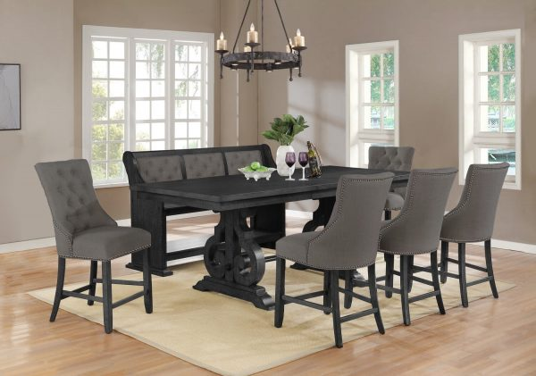 """ 6 Chairs in Beige Table w/Center 18"""" Leaf """