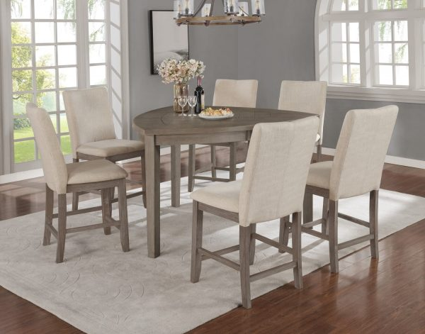  Petal-Shaped Table & Chairs in Dark Grey 4 Chairs & 1 Bench in Beige