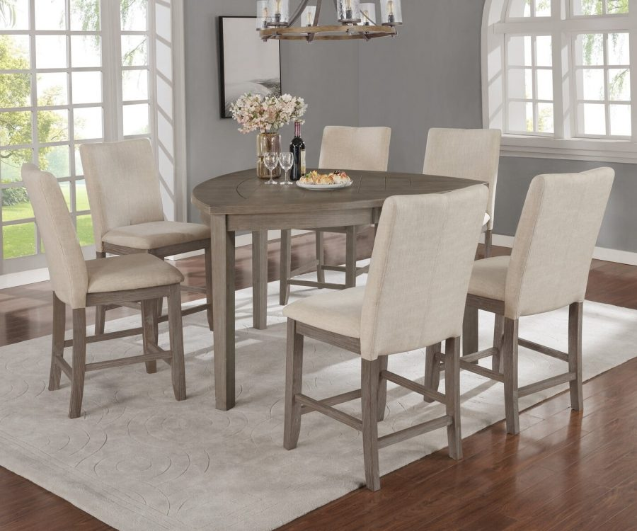 |Petal-Shaped Table & Chairs in Dark Grey|4 Chairs & 1 Bench in Beige