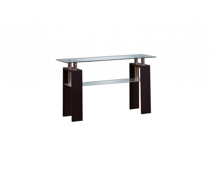 |Console Table with Glass Top and Shelf in Espresso Finish