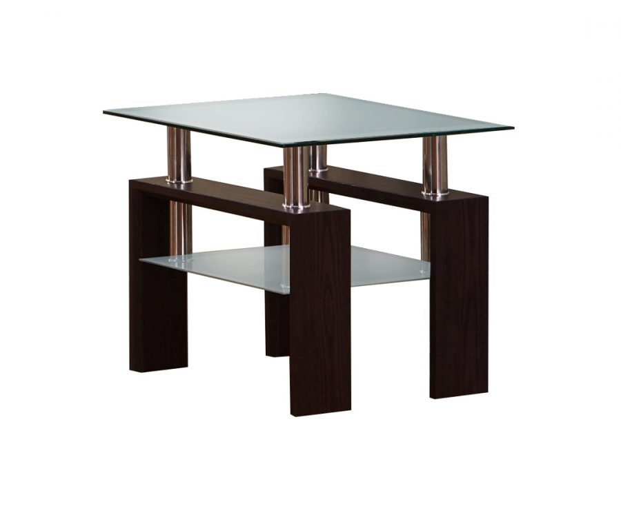 |End Table with Glass Top and Shelf in Espresso Finish