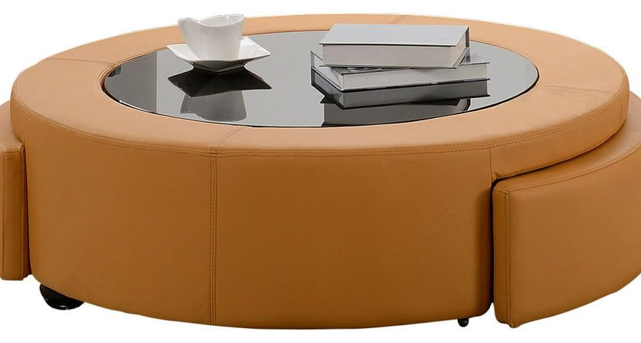 |Bonded leather coffee table with two drawers and three colors to Choose: orange