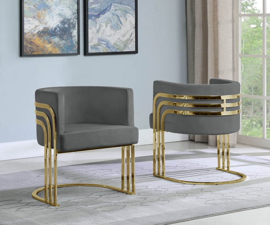 |Velvet Barrel Chair|Gold Base