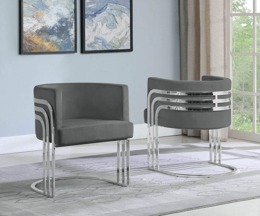 |Velvet Barrel Chair|Silver Base