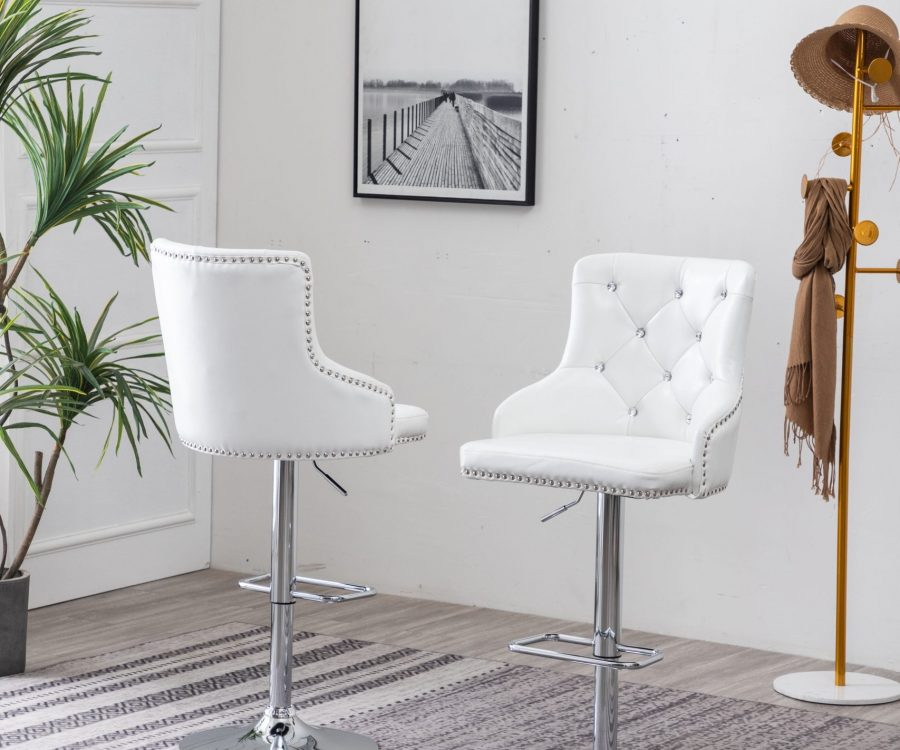 |Faux Leather Adjustable Bar Stool in White