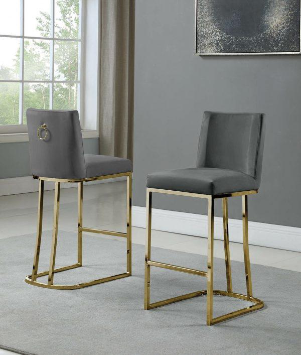 """ 37"""" Velvet Upholstered Counter Height Gold Color Legs"""