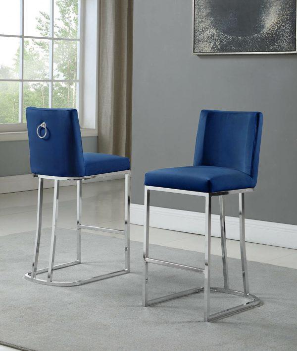 """ 37"""" Velvet Upholstered Counter Height Silver Color Legs"""