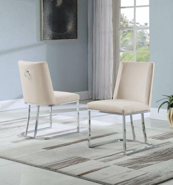 |Velvet Upholstered Side Chair|Silver Color Legs