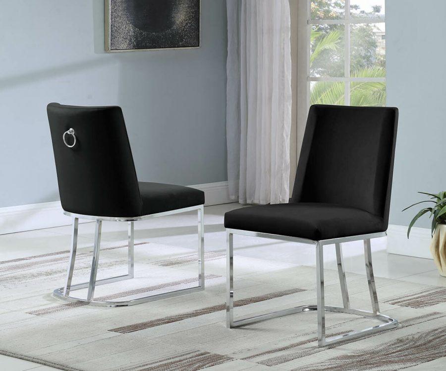  Velvet Upholstered Side Chair Silver Color Legs