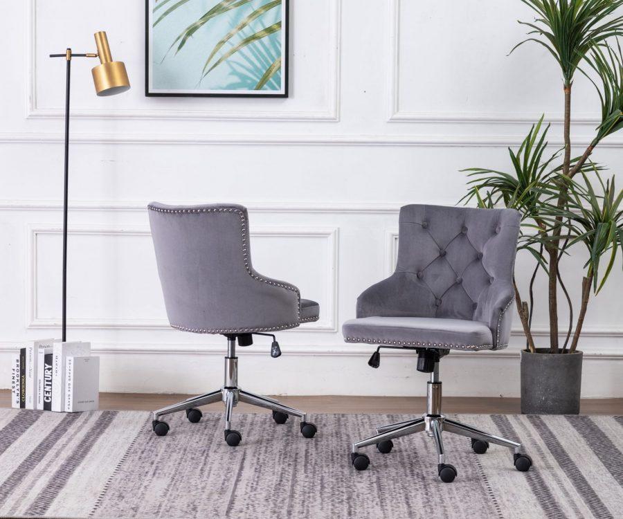 |Tufted Velvet Upholstered Adjustable Side Chair in Dark Grey - Single Only|