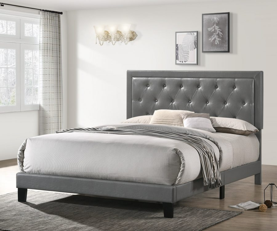Grey Faux Leather Panel Bed - Twin