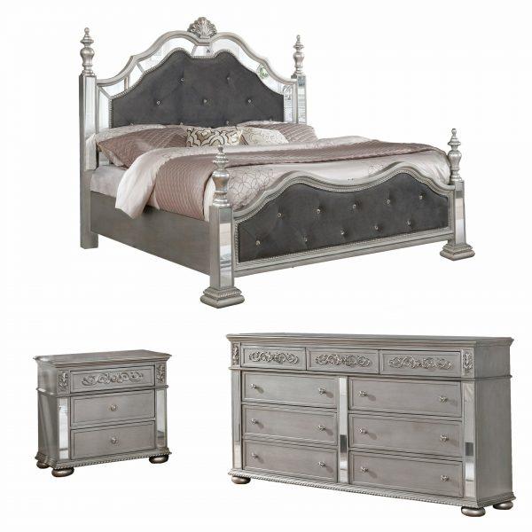 |3PC Queen Bedroom Set: 1 Sleigh Panel Bed