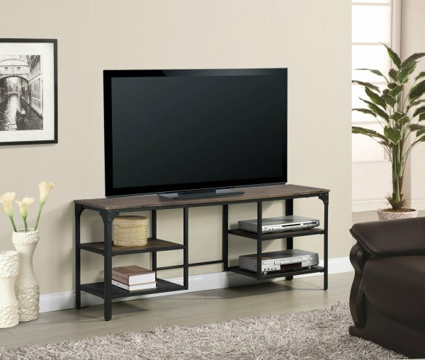 |Wooden TV Stand with Metal Frame|