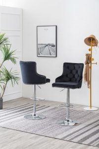 |Tufted Velvet Upholstered Adjustable Bar Stool in Black