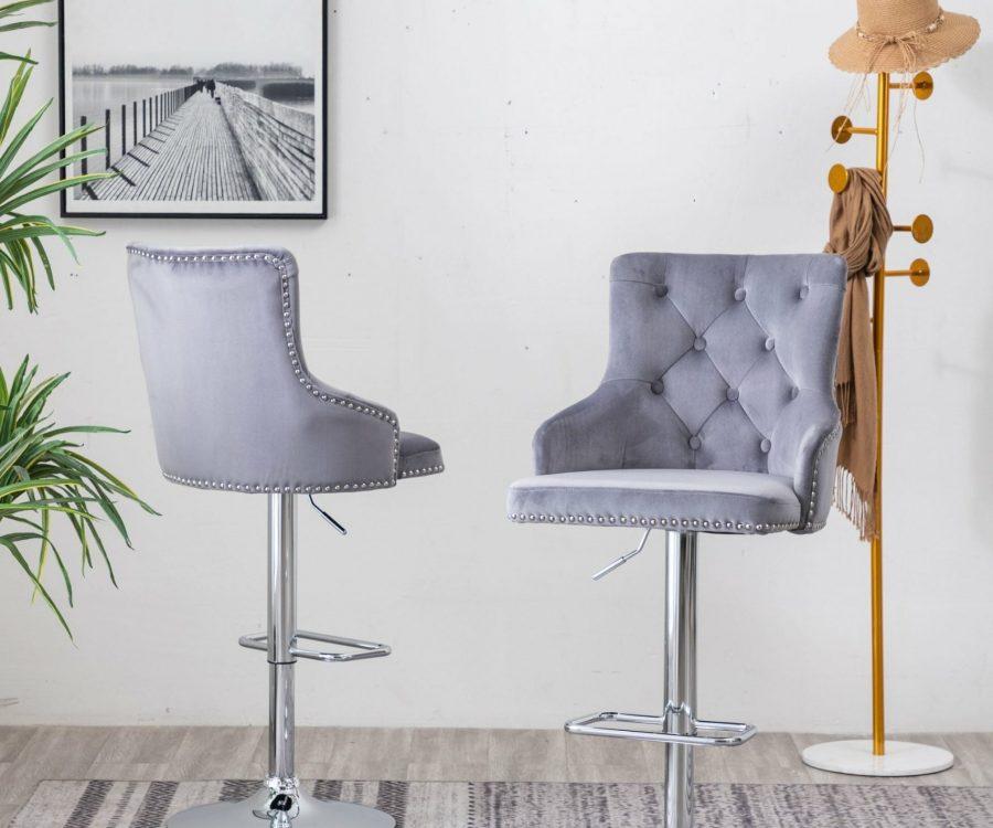 |Tufted Velvet Upholstered Adjustable Bar Stool in Dark Grey