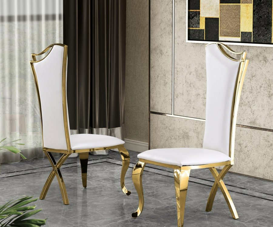 |White Faux Leather Side Chair **Set of 2**