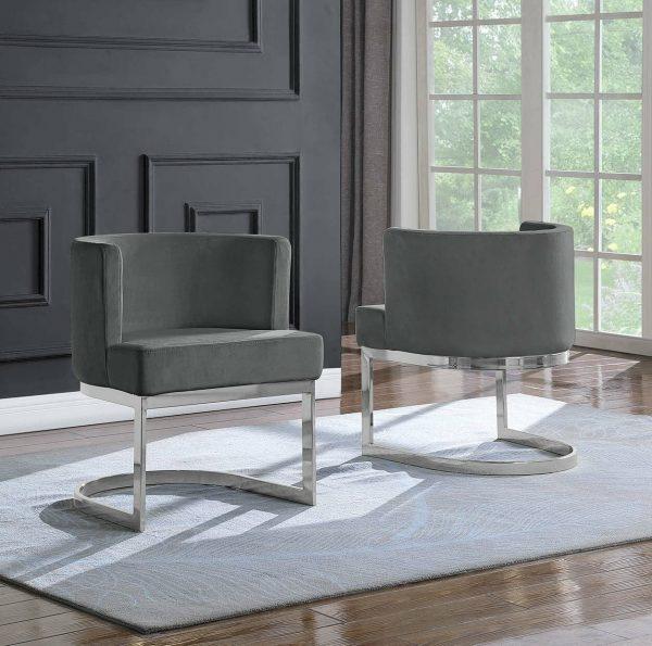 |Dark Grey Velvet Side Chair with Silver|Chrome Base - Single