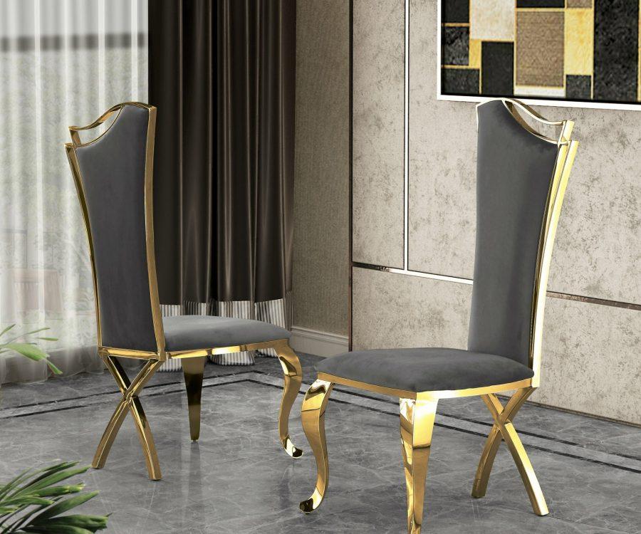 |Dark Gray Velvet Side Chair **Set of 2**