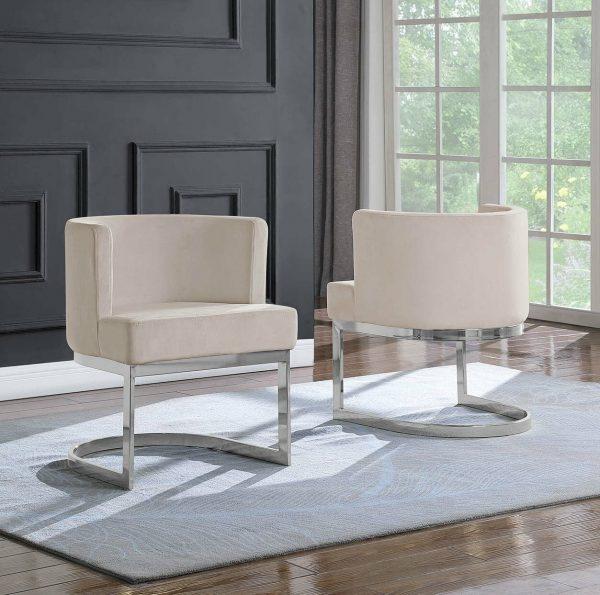 |Beige Velvet Side Chair with Silver|Chrome Base - Single