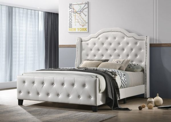 |White Faux Leather Tufted Panel Bed - Queen
