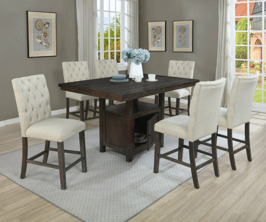  Counter Height Upholstered Side Chairs with Tufted Buttons