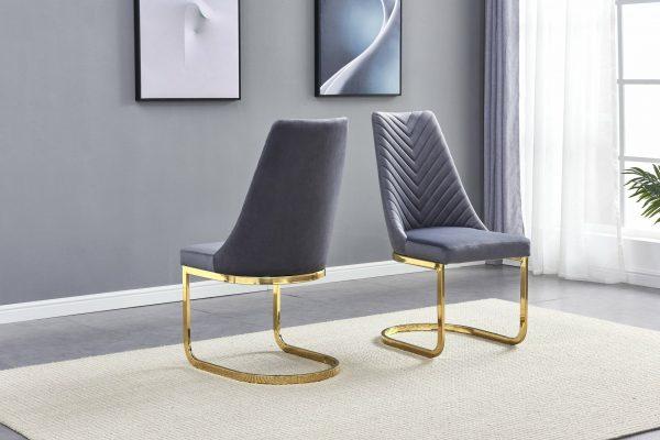 |Dark Grey Tufted Velvet Side Chair with Chrome Gold Base - Set of 2|