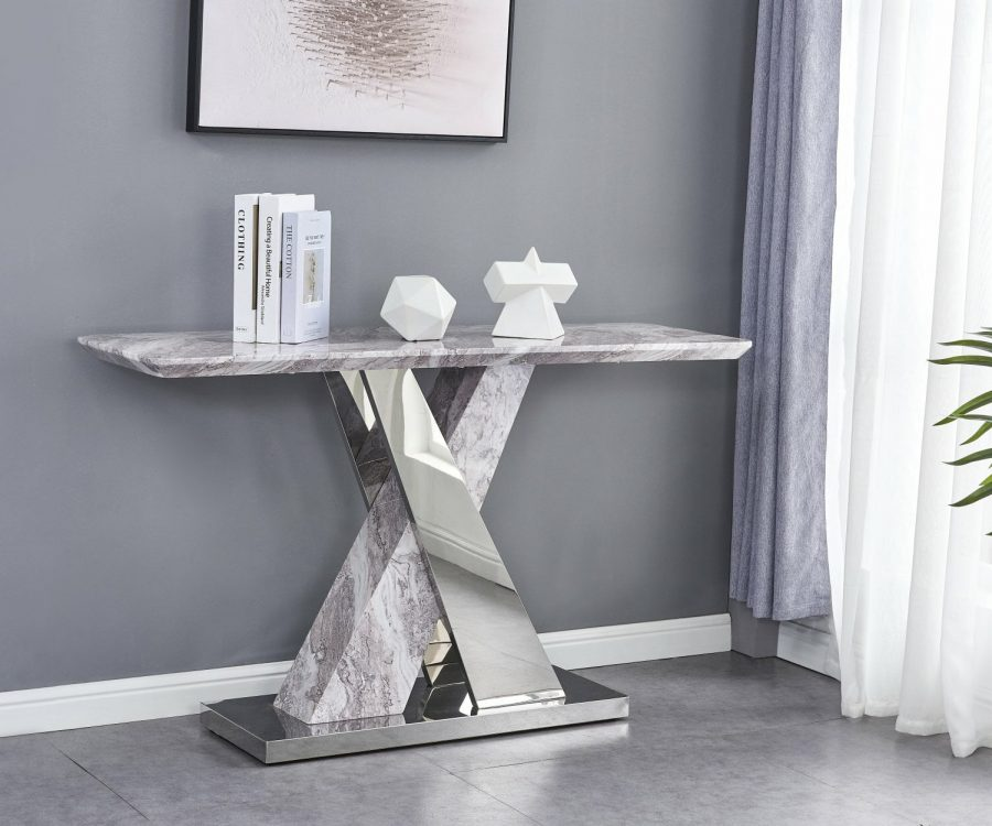 |White Faux Marble Console Table w/Stainless Steel X-Base
