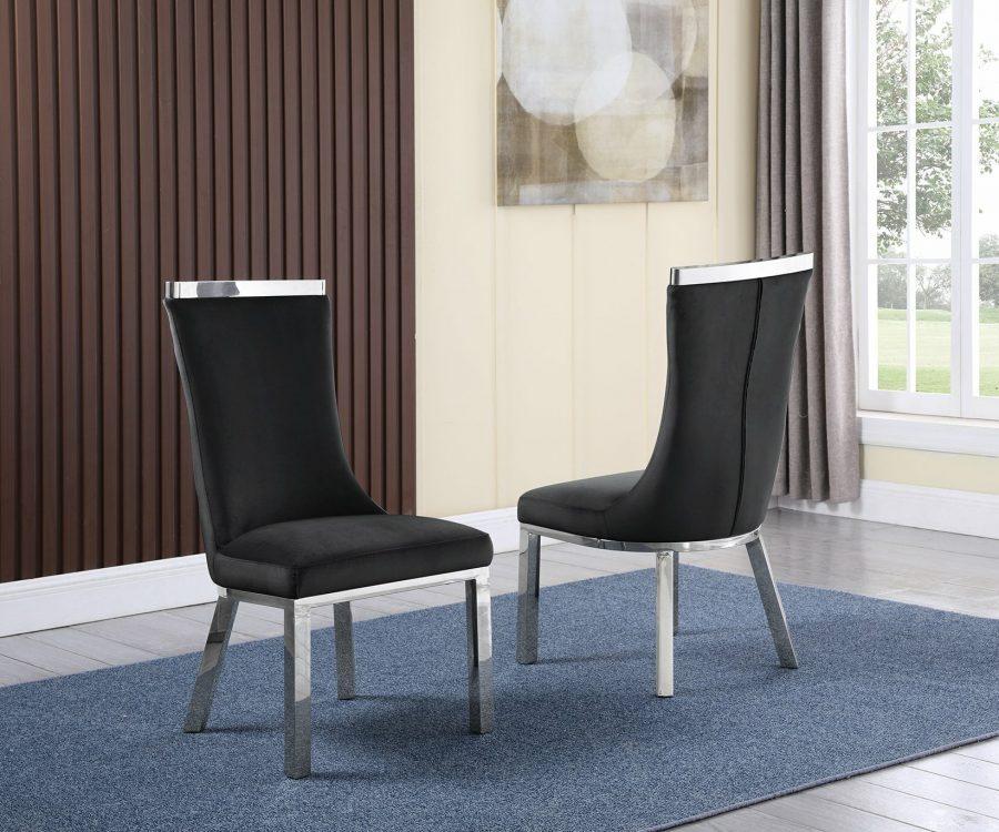 |6 Black Velvet Chairs