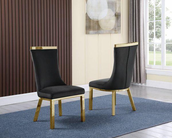  4 Black Velvet Chairs