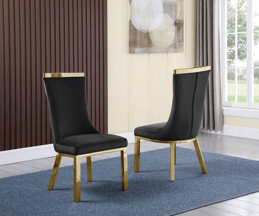 |4 Black Velvet Chairs