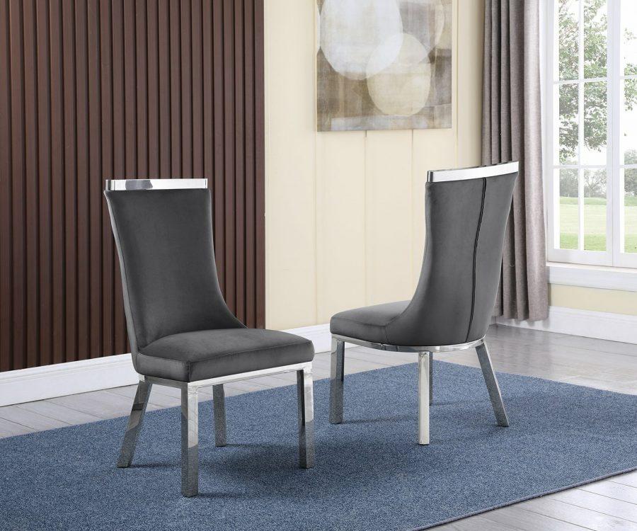 |6 Dark Grey Velvet Chairs
