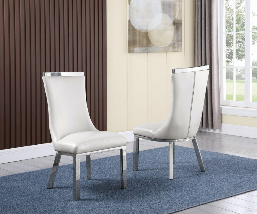 |6 White Faux Leather Chairs