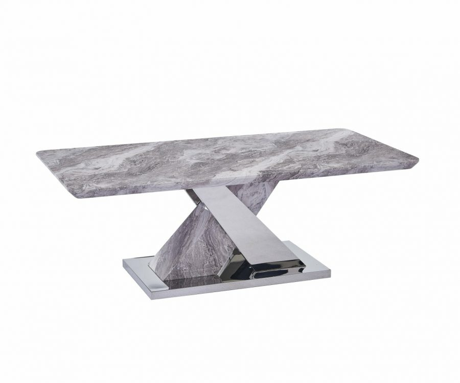 |White Faux Marble Coffee Table w/Stainless Steel X-Base