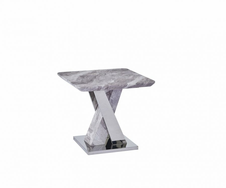 |White Faux Marble End Table w/Stainless Steel X-Base