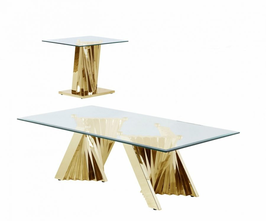 |Glass Coffee Table Sets: Coffee Table and End Table with Stainless Steel Gold Base
