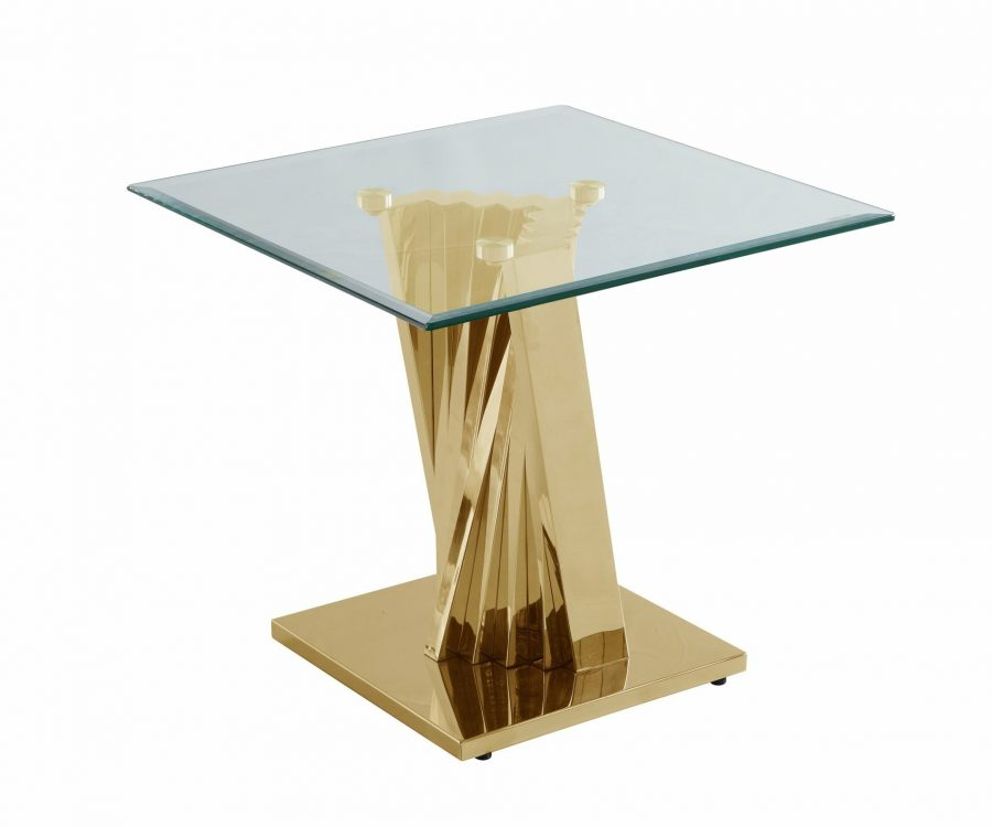 |Glass End Table with Stainless Steel Gold Base|
