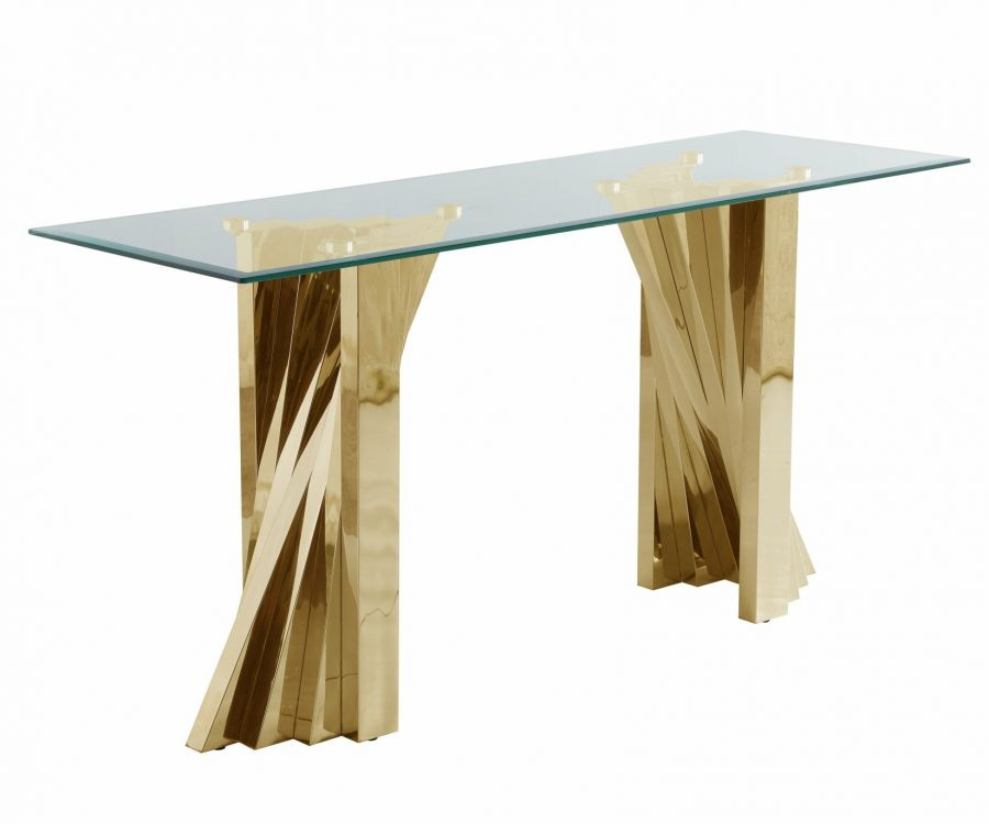 |Glass Console Table with Stainless Steel Double Gold Base|