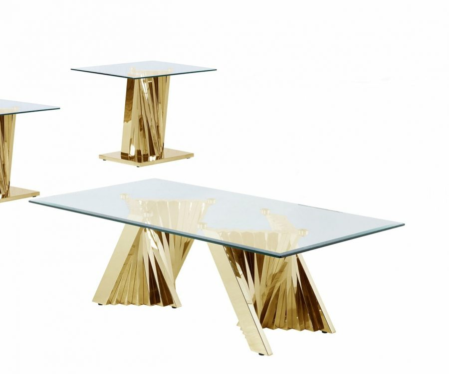 |Glass Coffee Table Sets: Coffee Table and 2 End Tables with Stainless Steel Gold Base