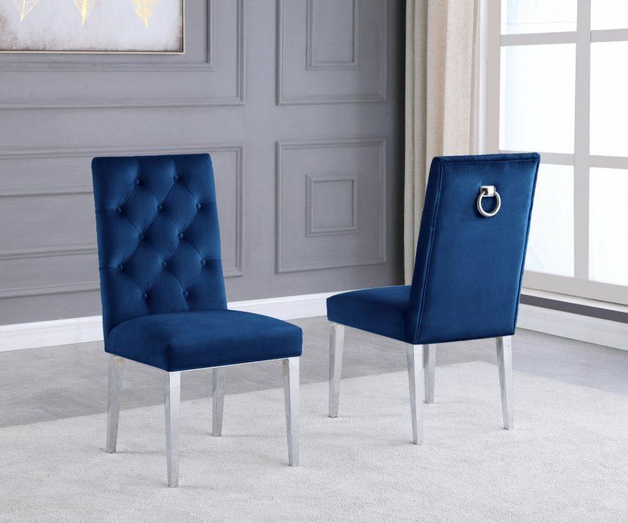  Navy Bue Velvet Tufted Ring-Back Chair with Chrome Legs - Set of 2 