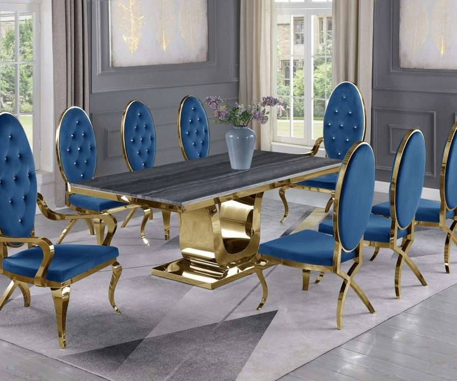 |Dark Grey Marble Top|Navy Blue Velvet Chairs and Arm Chairs in Stainless Steel|Stainless Steel Gold Base & Beige Velvet Pleated Side Chairs in Chrome Gold Legs