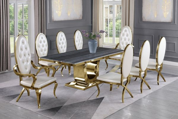  Dark Grey Marble Top White Faux Leather Chairs and Arm Chairs in Stainless Steel Stainless Steel Gold Base & Beige Velvet Pleated Side Chairs in Chrome Gold Legs