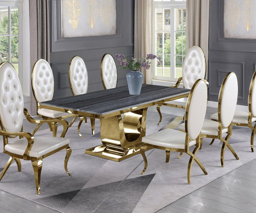 |Dark Grey Marble Top|White Faux Leather Chairs and Arm Chairs in Stainless Steel|Stainless Steel Gold Base & Beige Velvet Pleated Side Chairs in Chrome Gold Legs