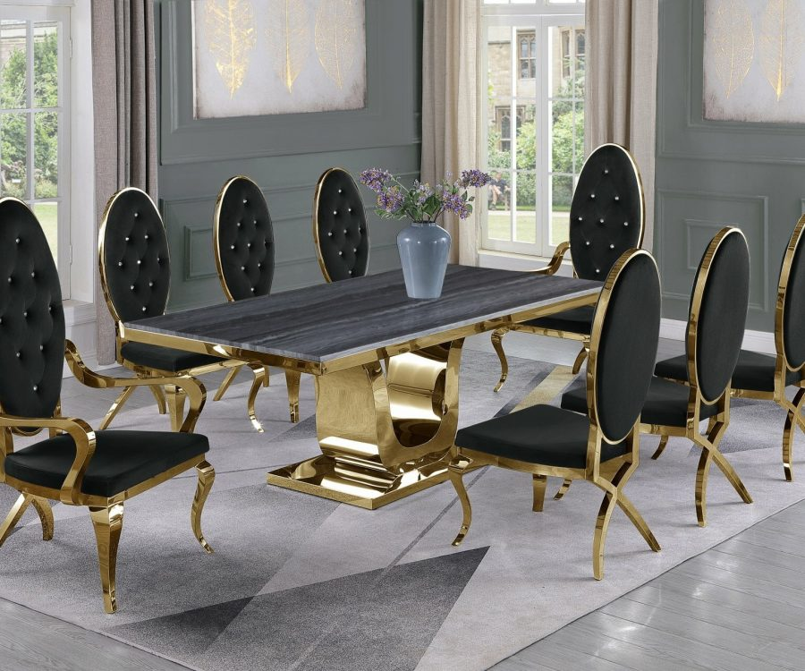 |Dark Grey Marble Top|Black Velvet Chairs and Arm Chairs in Stainless Steel|Stainless Steel Gold Base & Beige Velvet Pleated Side Chairs in Chrome Gold Legs