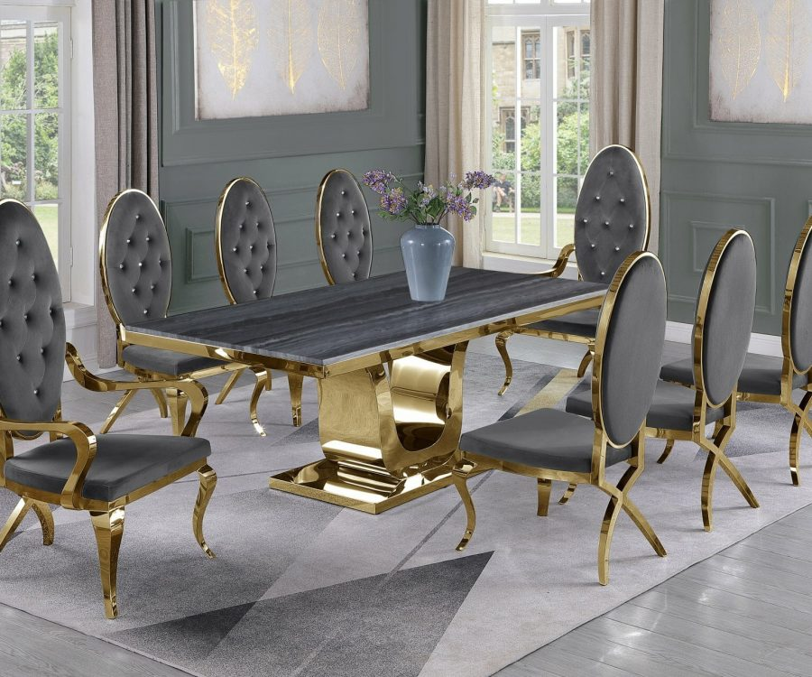 |Dark Grey Marble Top|Dark Grey Velvet Chairs and Arm Chairs in Stainless Steel|Stainless Steel Gold Base & Beige Velvet Pleated Side Chairs in Chrome Gold Legs