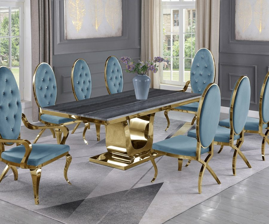 |Dark Grey Marble Top|Teal Velvet Chairs and Arm Chairs in Stainless Steel|Stainless Steel Gold Base & Beige Velvet Pleated Side Chairs in Chrome Gold Legs